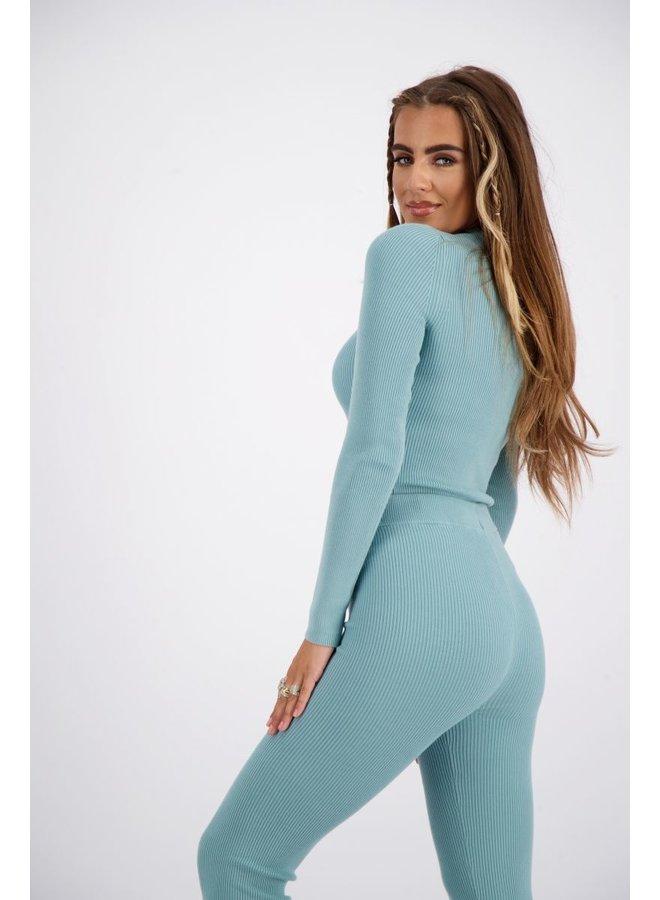 Livia Top Knitwear Long Mineral Blue