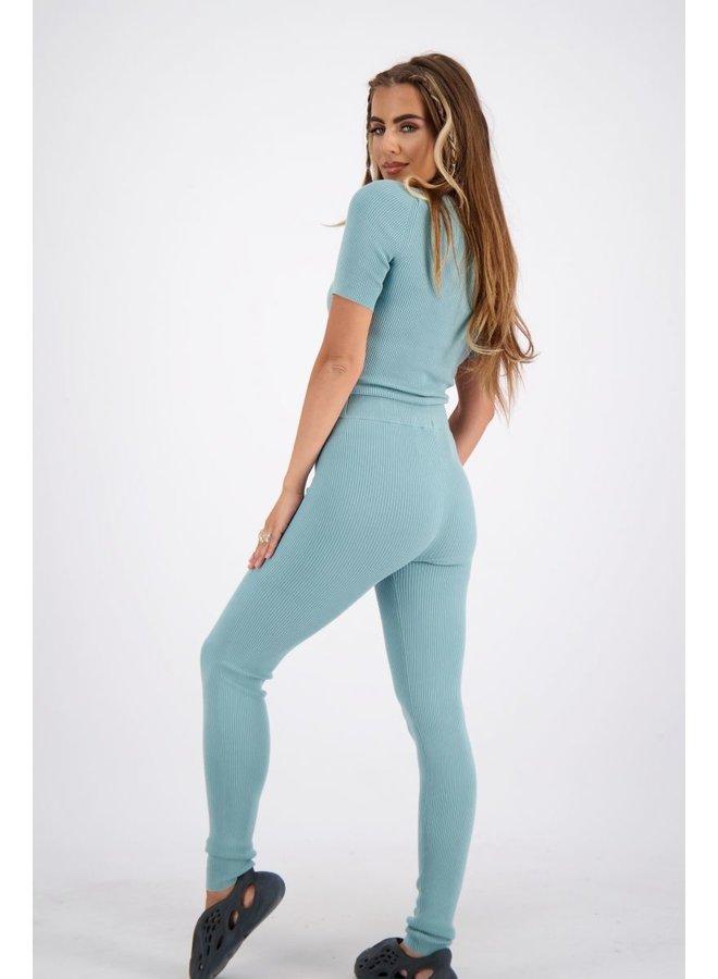 Livia Pants Knitwear Mineral Blue