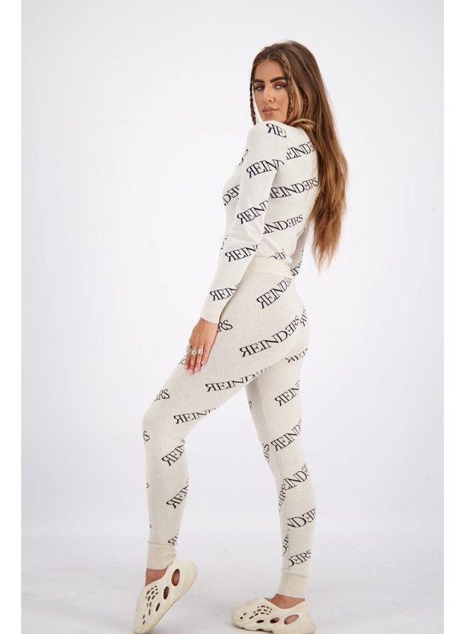 Top Zipper All Over Print Creme
