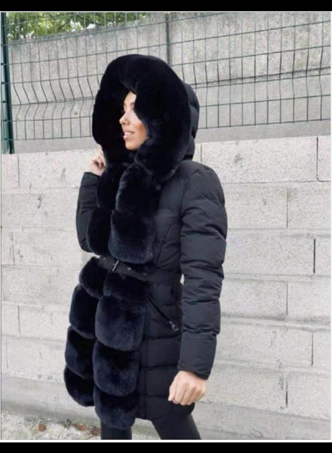 Fur Collar Jacket Black