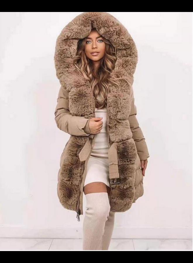 Fur Collar Jacket Camel