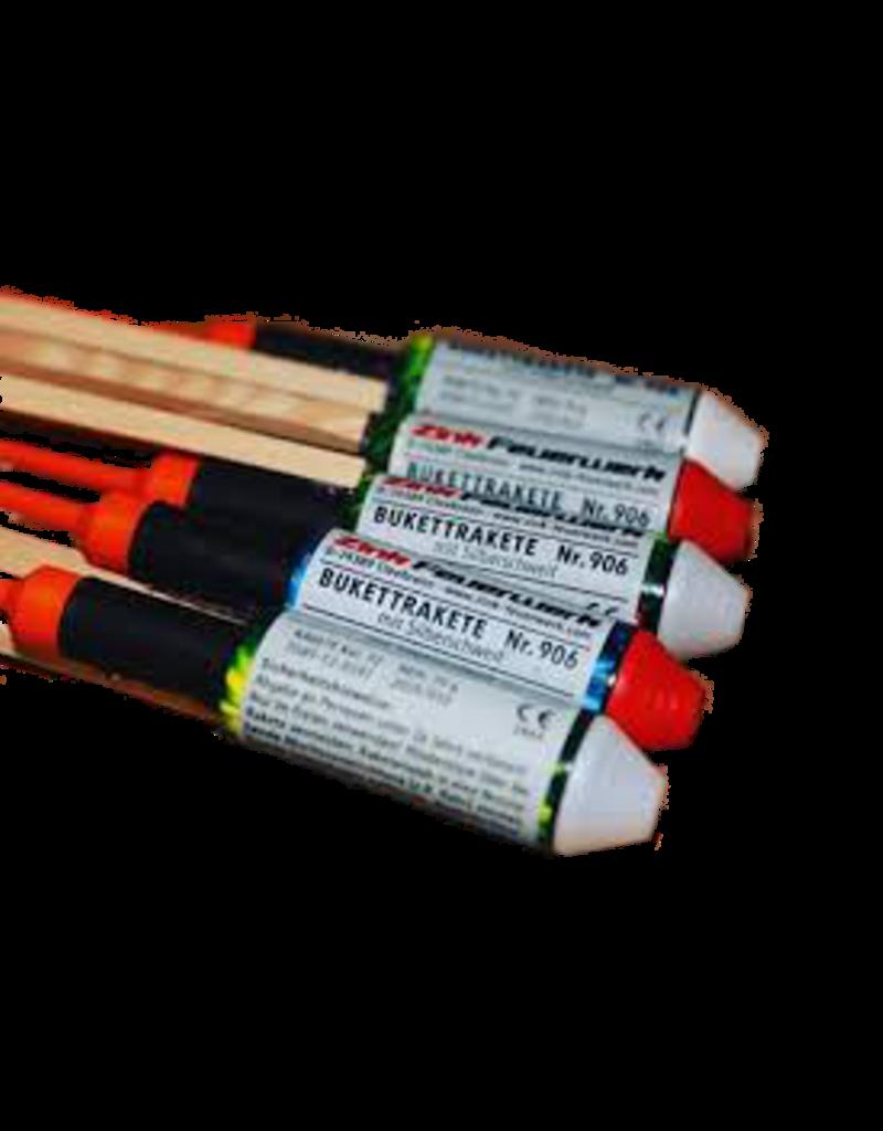 Zink Feuerwerk Zink 906 Premium Rakete Rote und Weiße Blinker mit Silberschweif