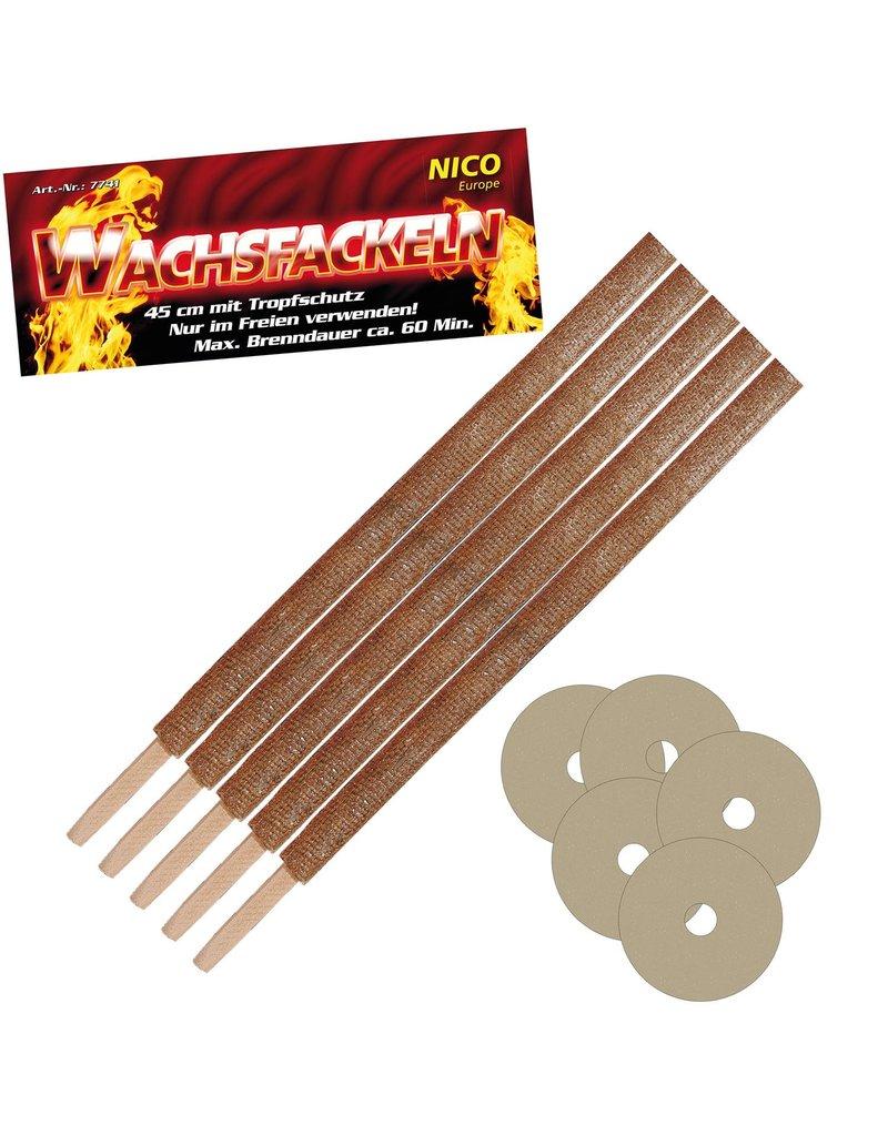 Nico Europe Wachsfackel 45cm 5er Pack