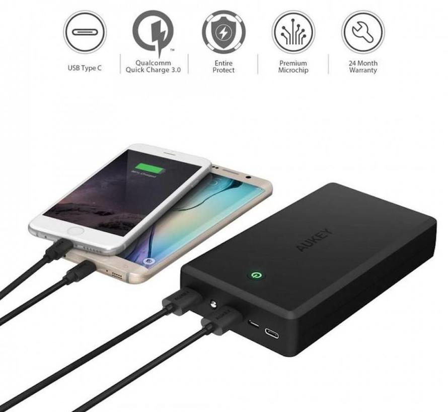Aukey Powerbank PB-Y3 30.000 mAh USB-C - QC 3.0