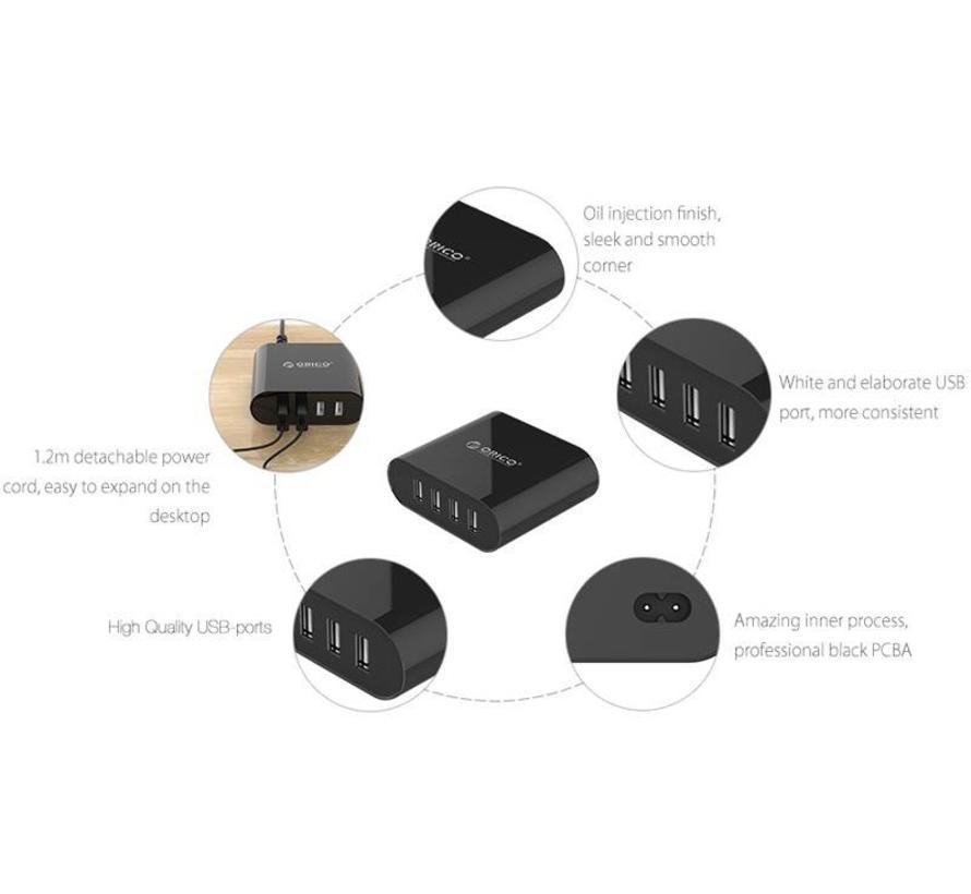 Movadi CB-4U 4-poort USB Multi Lader Zwart