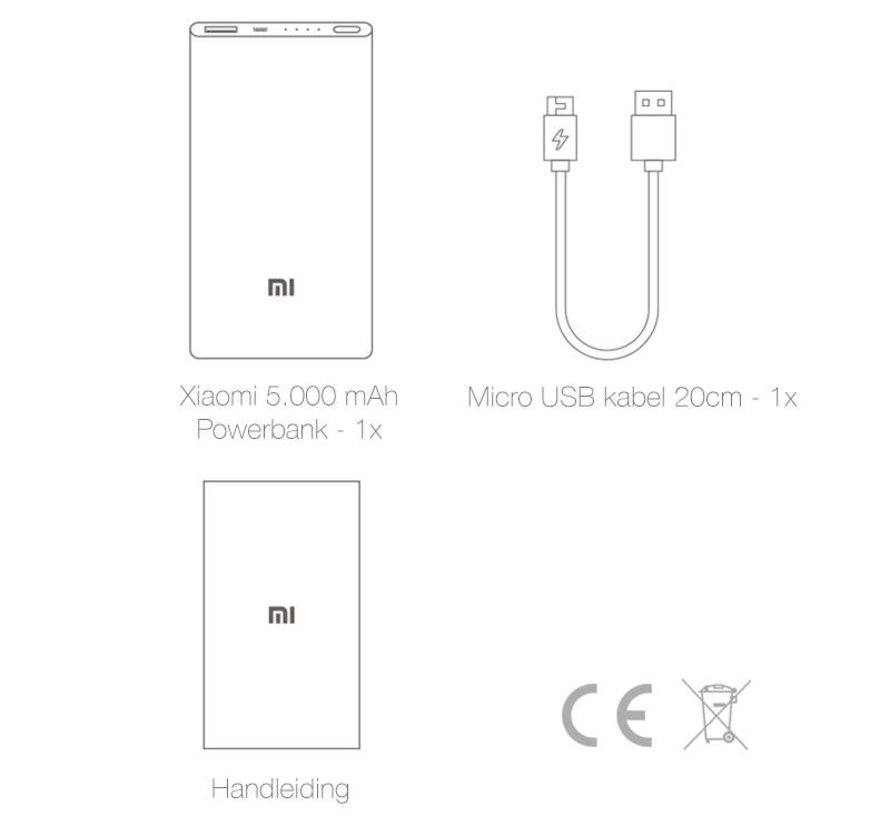 Xiaomi  Powerbank 5.000 mAh Slim Zilver