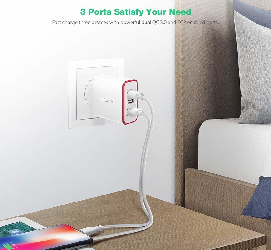 BlitzWolf BW-PL2 3-poort USB Multi Lader Quick Charge - Wit
