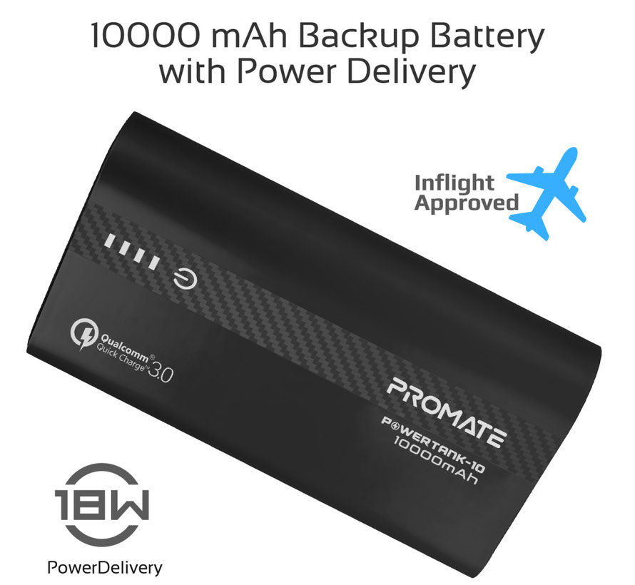 Promate Powertank-10 10.000 mAh USB-C PD Zwart