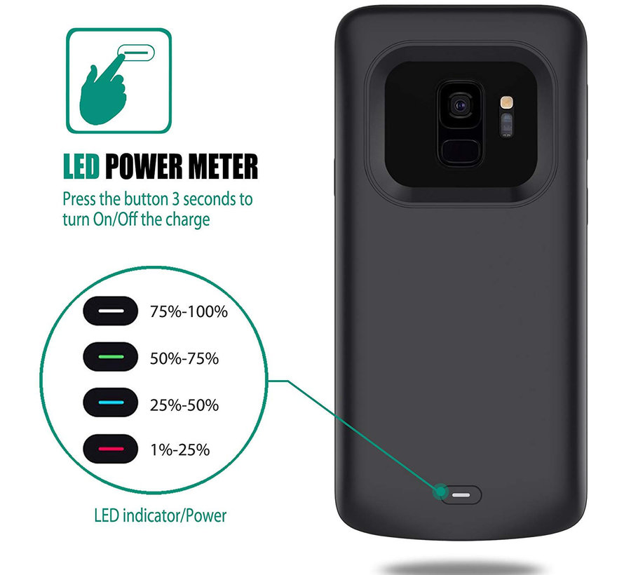 Samsung Galaxy S9 Plus Battery Case - Zwart