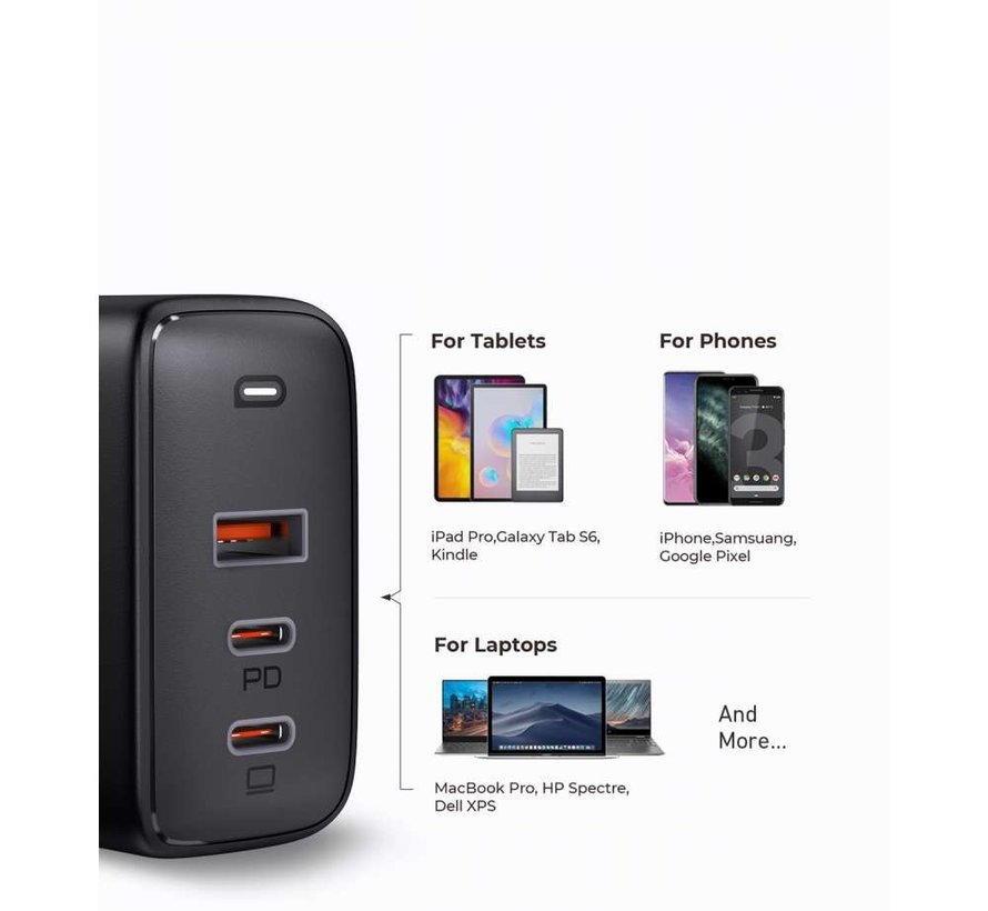 Aukey PA-B6S USB / Dual USB-C Power Delivery Thuislader - Zwart