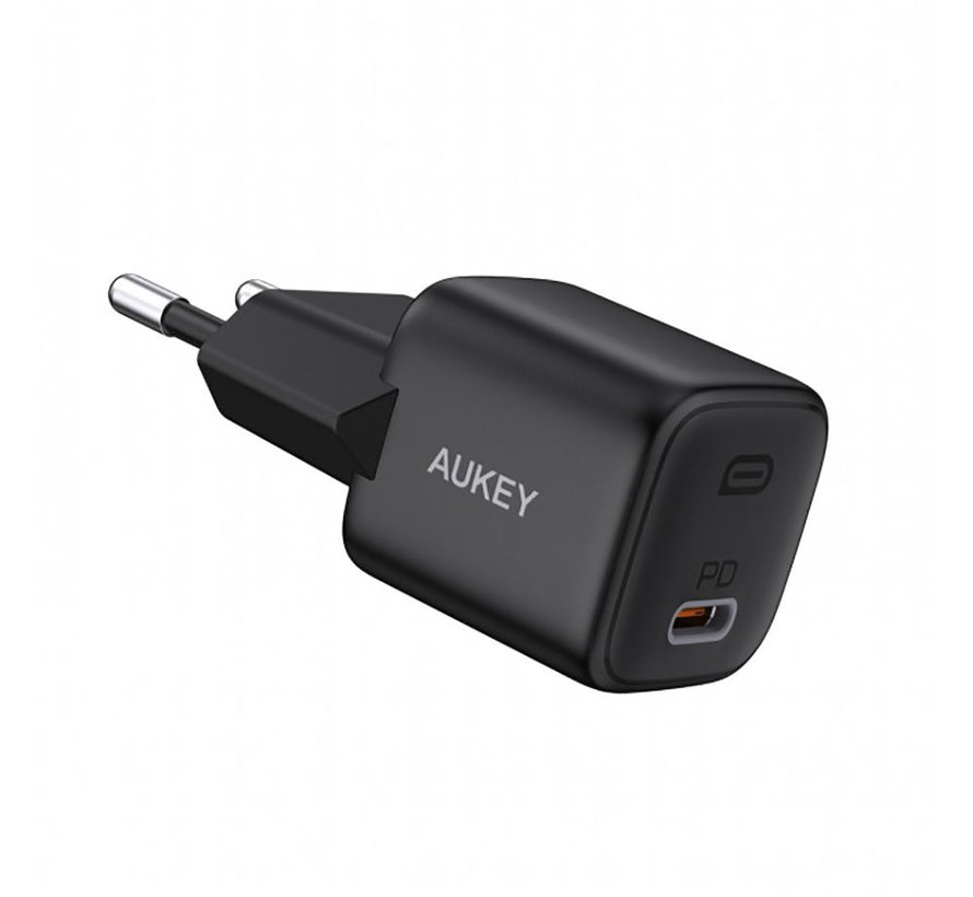 Aukey USB C Power Delivery Mini Charger 20W - Zwart