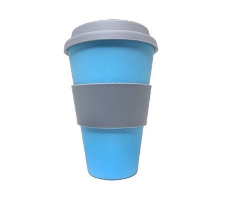 Bamboe Koffiebeker met deksel - Blauw - 400ml