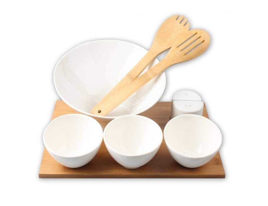 Eco-Import Salade schaal, lepels en kommen van bamboe