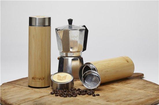 Retulp Thermosfles Bamboe voor thee met zeefje - 400ml