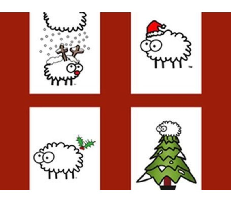 Kerstkaarten van schapen keutels - Santa hat - 5 stuks