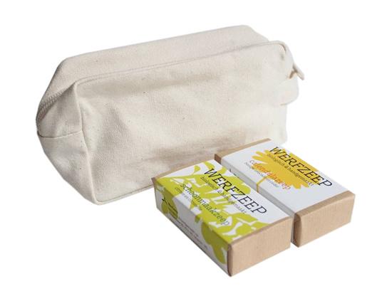Werfzeep Werfzeep reistas en twee zeepjes - Reistasje