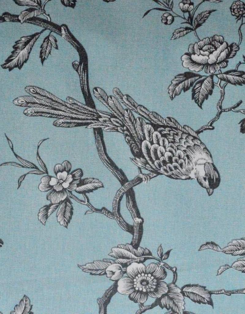 Mesanges Decoratiestof Vogels Mezen Bloemen Print Lichtblauw Grijs Roelofsstoffen