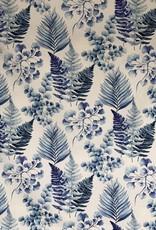 Blue Leaves extra brede decoratiestof