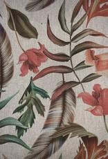 Boho Bloemen & Veren decoratiestof linnenlook
