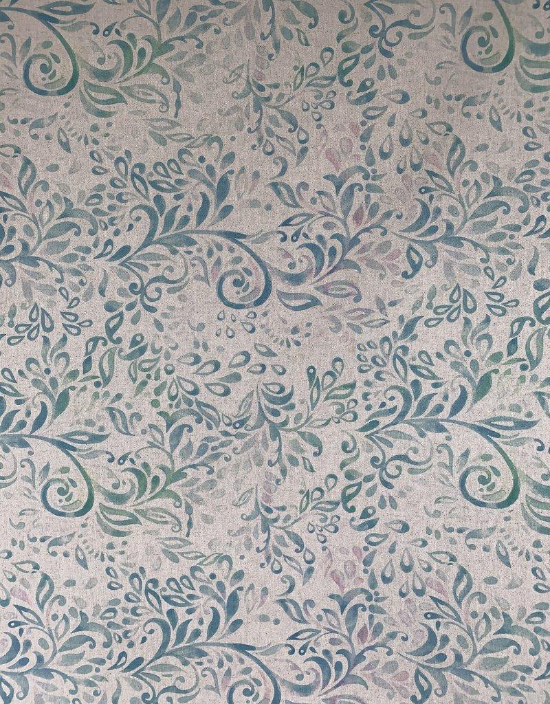 Lujan Turquoise Decoratiestof Linnenlook