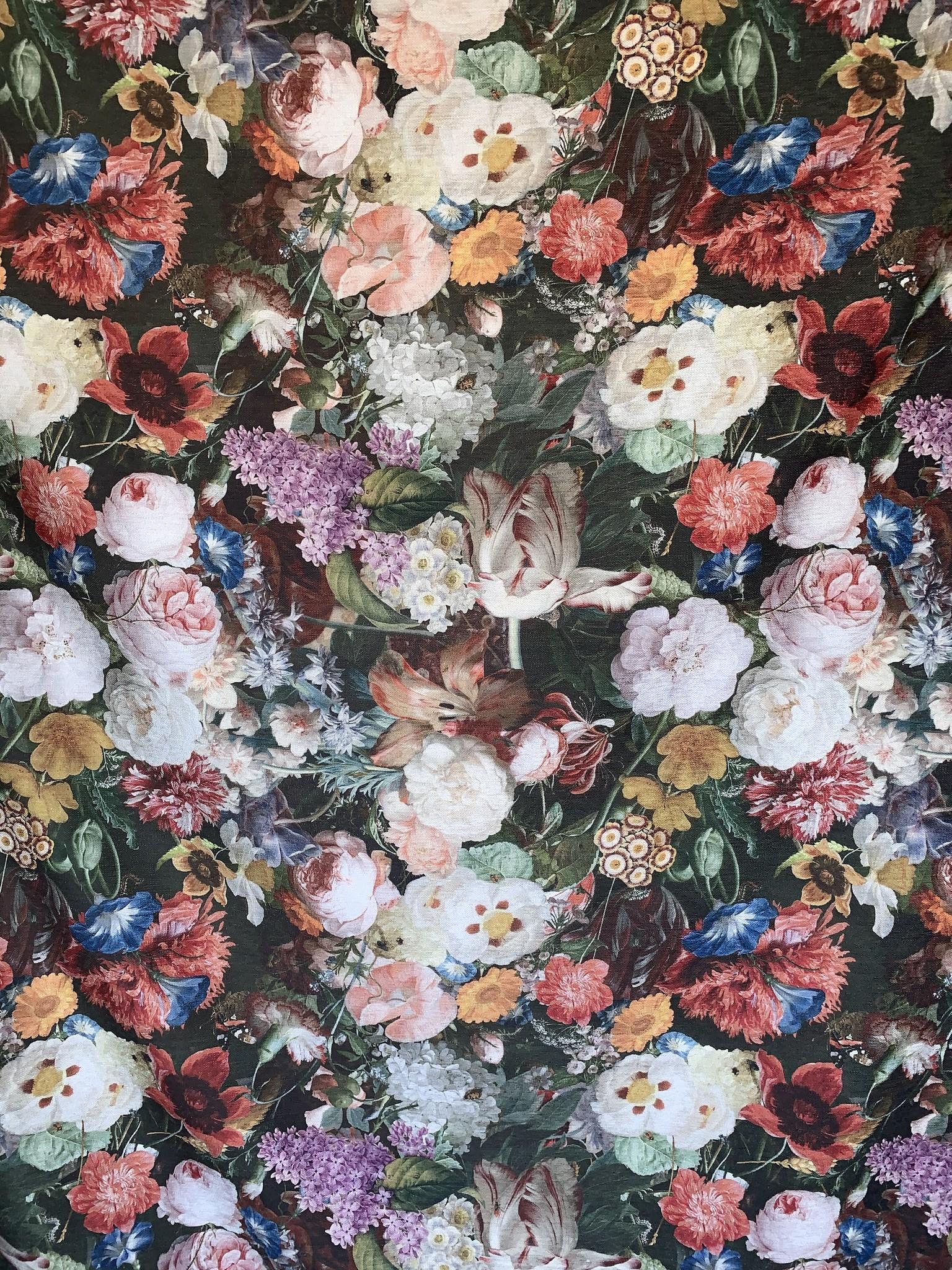 Lea Decoratiestof Romantisch Bloemen Rozen Print Rood Roze Groen Roelofsstoffen