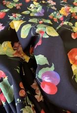 Appels & Peren Zwart Decoratiestof Katoen