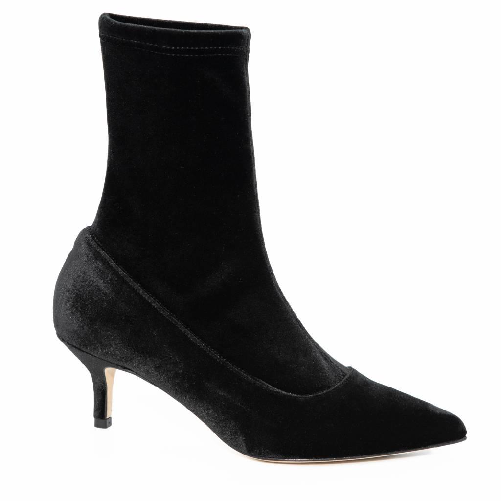 delicate kleuren info voor aantrekkelijke prijs Cara Rosa Milano fluwelen stretch-sock enkellaarsjes met lage hak