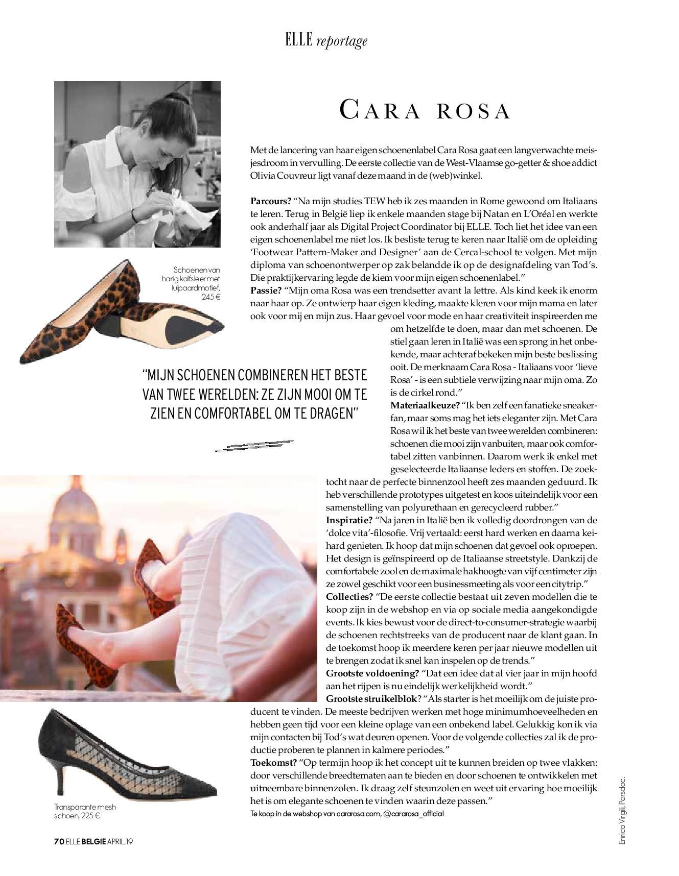 Cara Rosa handmade in Belgium