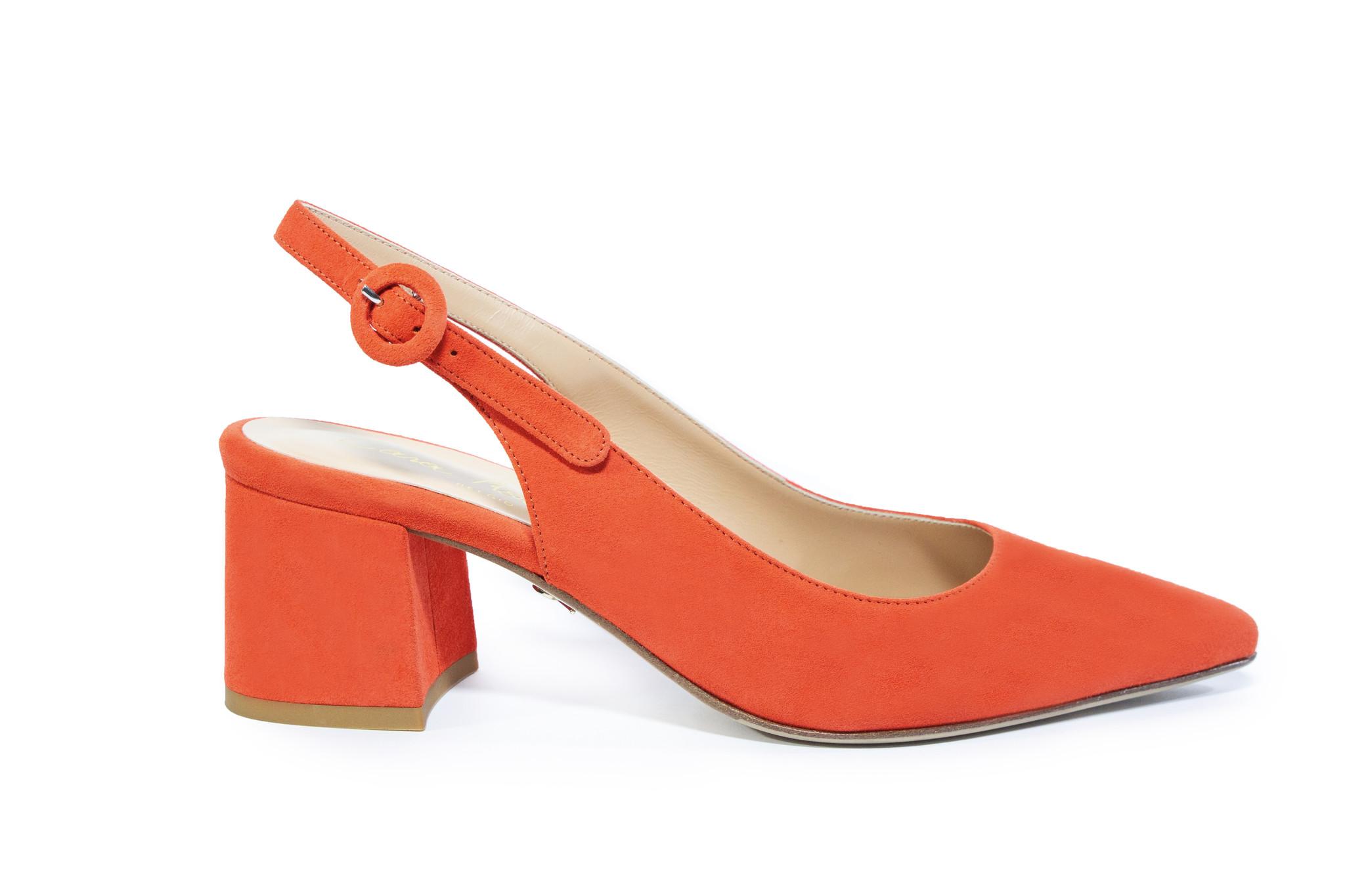 Oranje sandalen met blokhak Cara Rosa