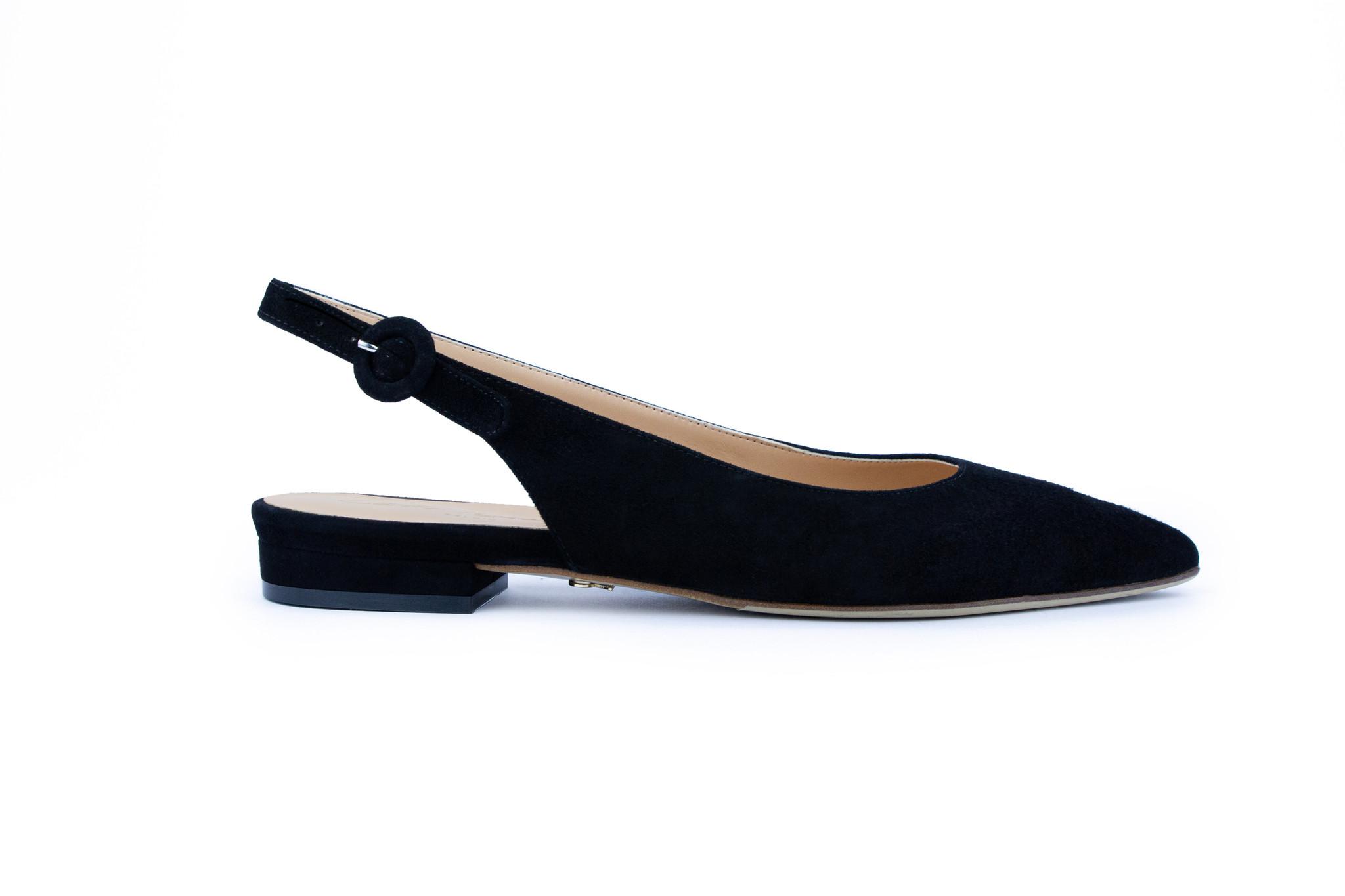 Zwarte platte sandalen met blokhak Cara Rosa