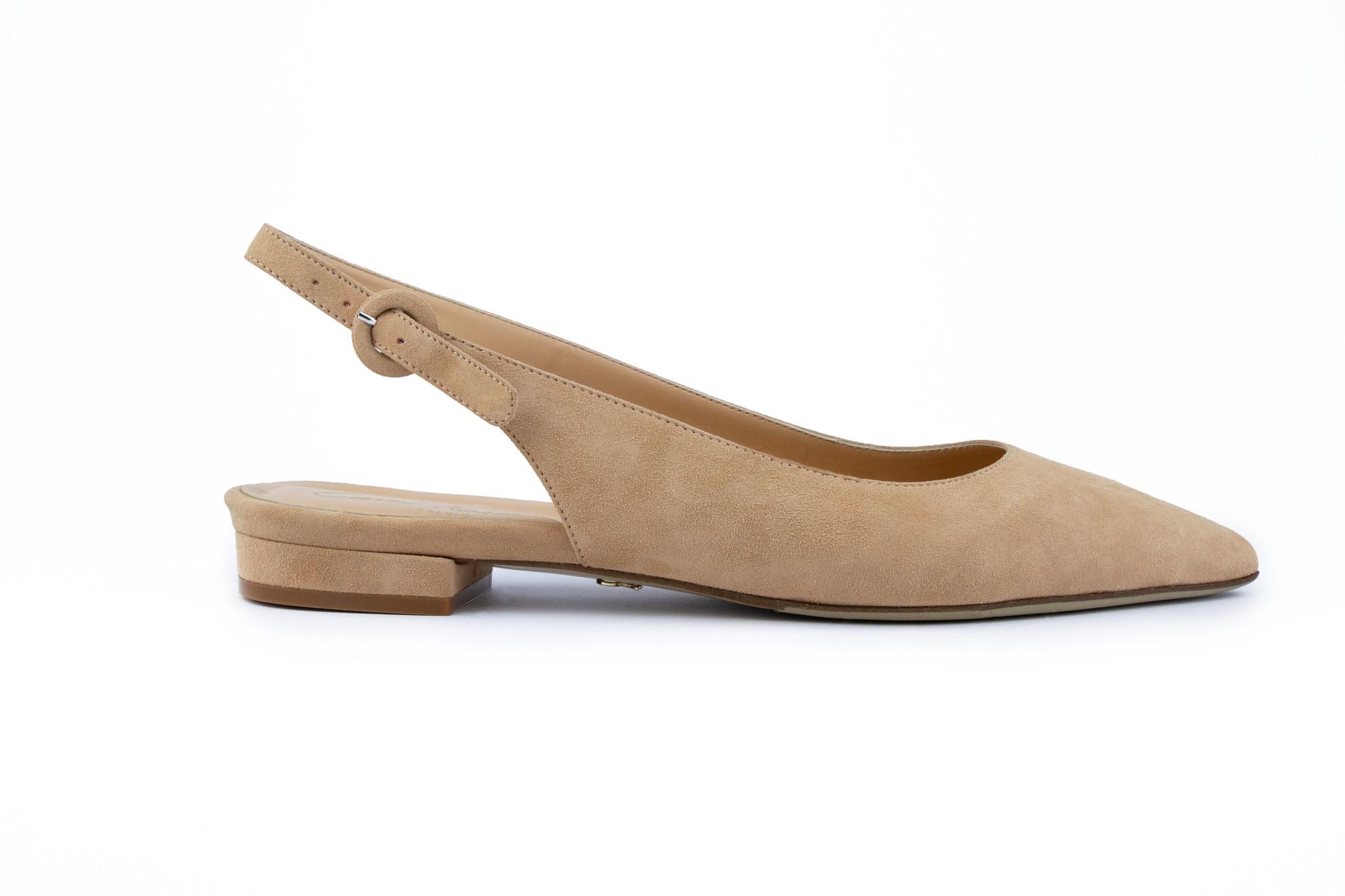 Nude platte sandalen met blokhak Cara Rosa