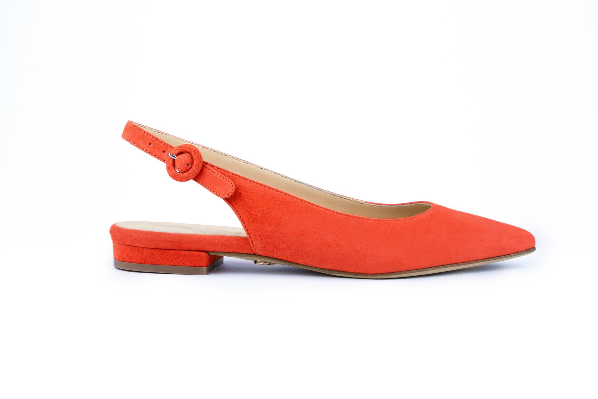 Oranje platte sandalen met blokhak Cara Rosa