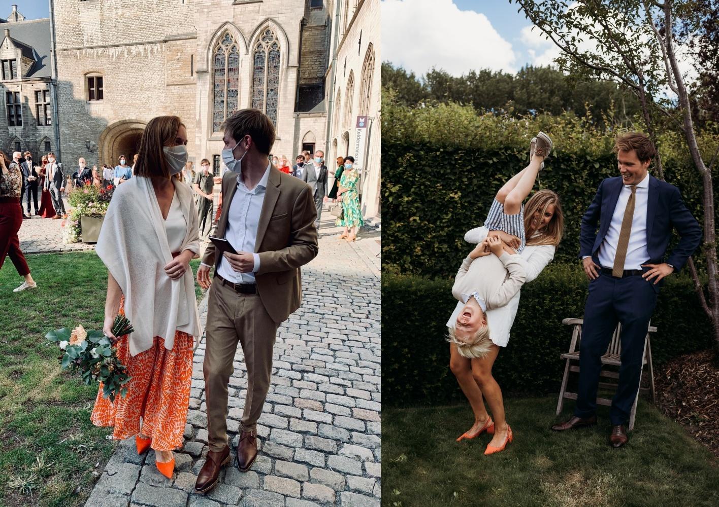 Oranje sandalen met blokhak Cara Rosa schoenen trouw