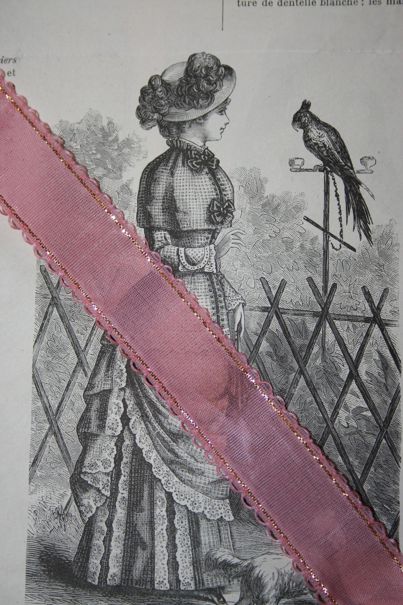 Vintage roze gaaslint met goud randje,