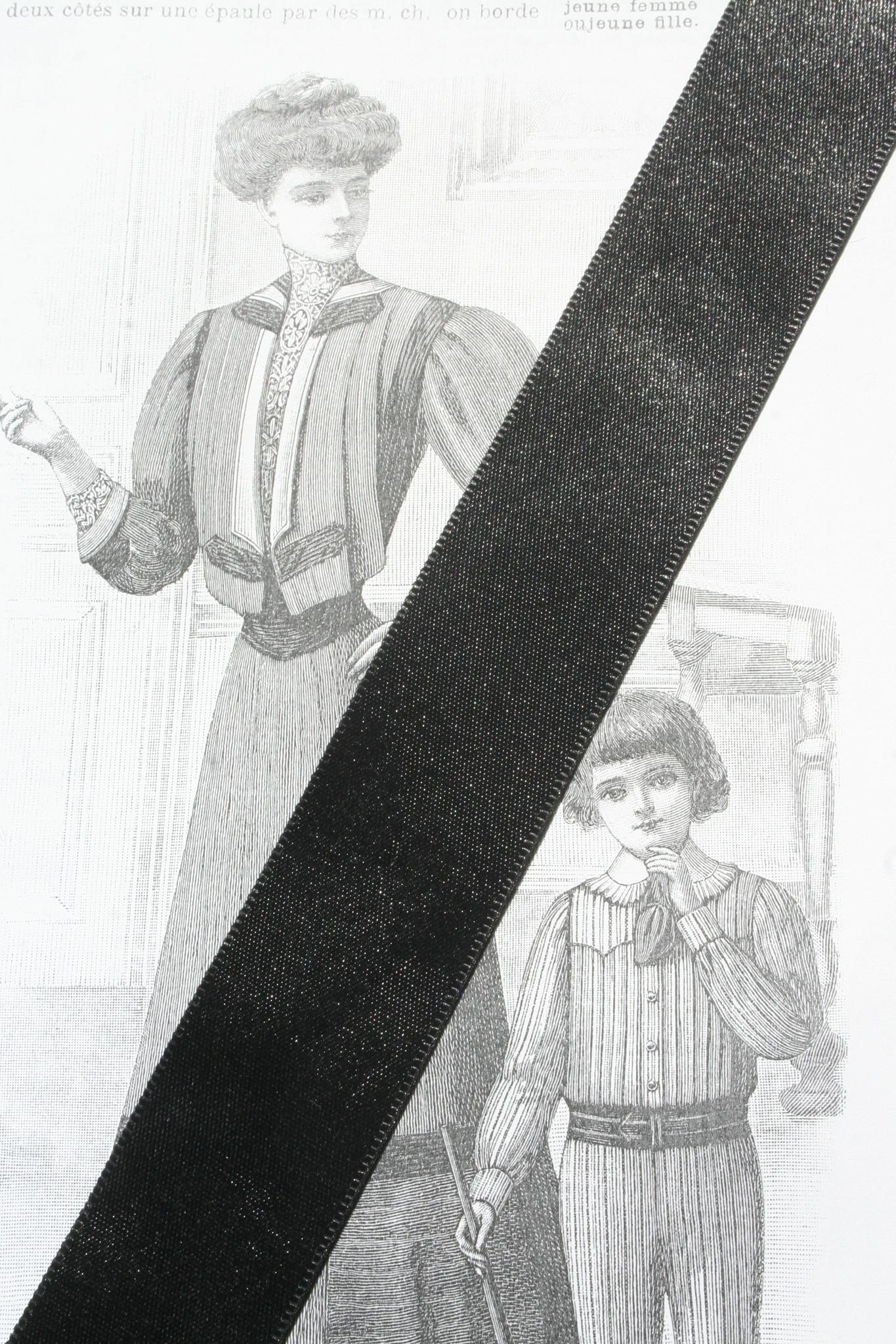 Black satin ribbon diff. widths