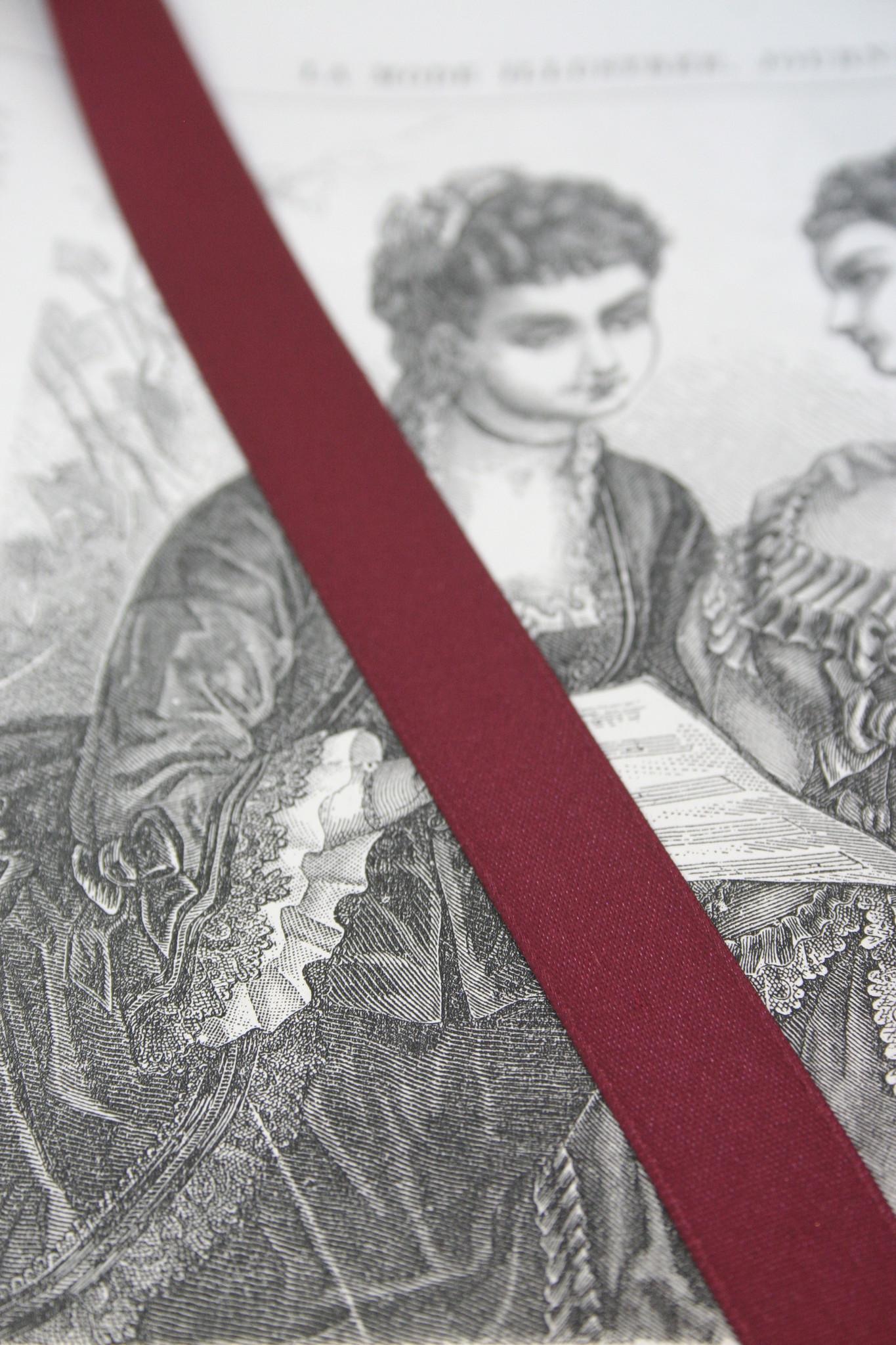 Dark red satin ribbon diff. widths
