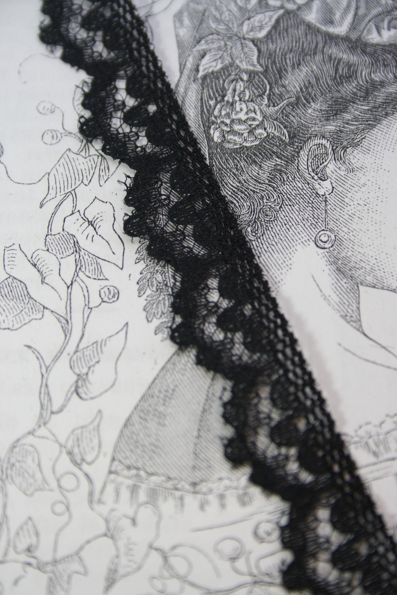 Vintage black nylon lace with scalloped edge per M.