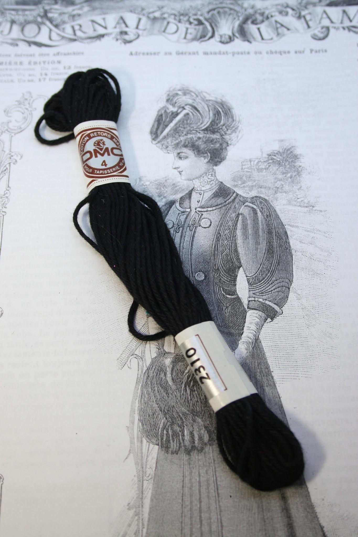 DMC Tapestry embroidery thread black.