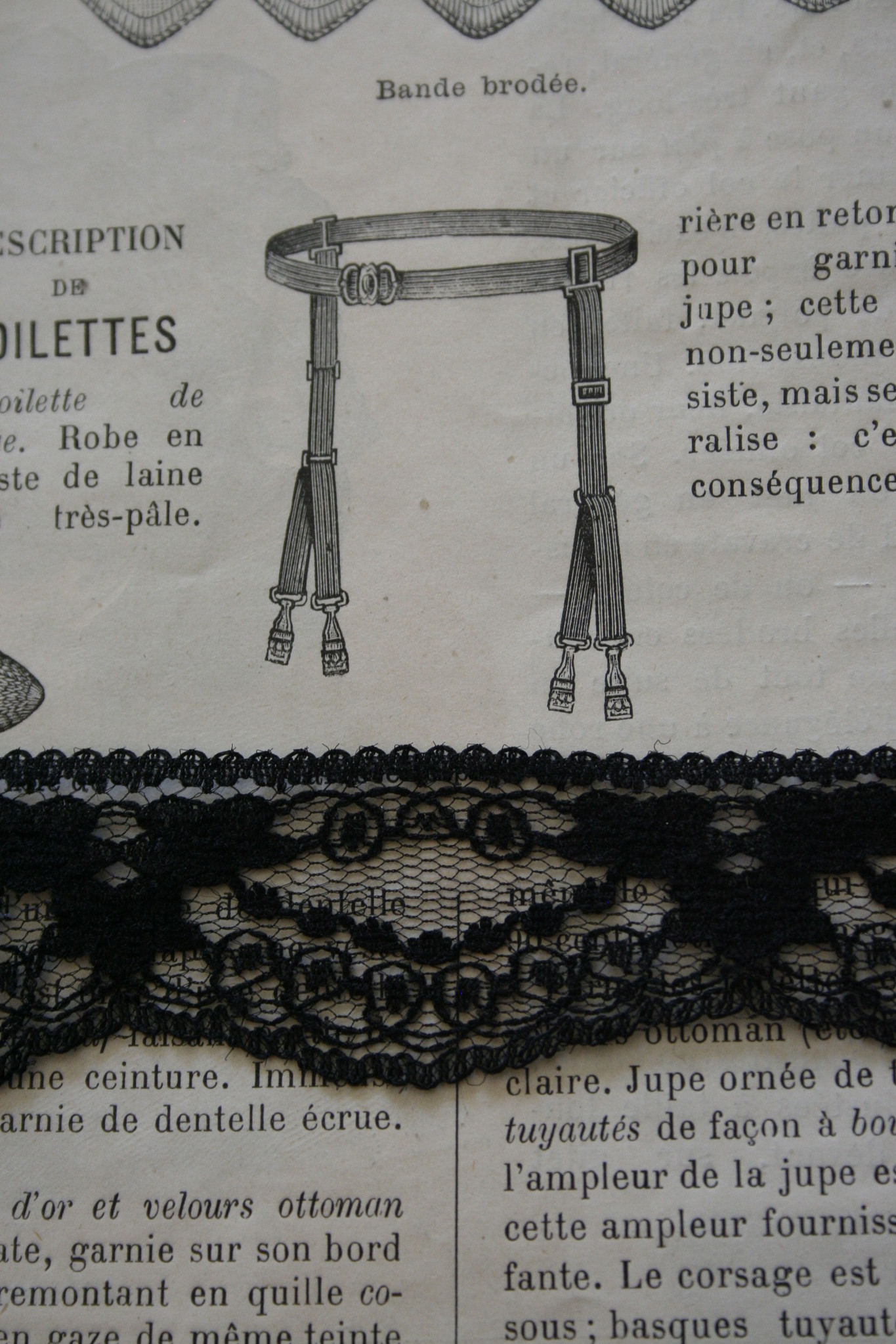 Black scalloped lace.