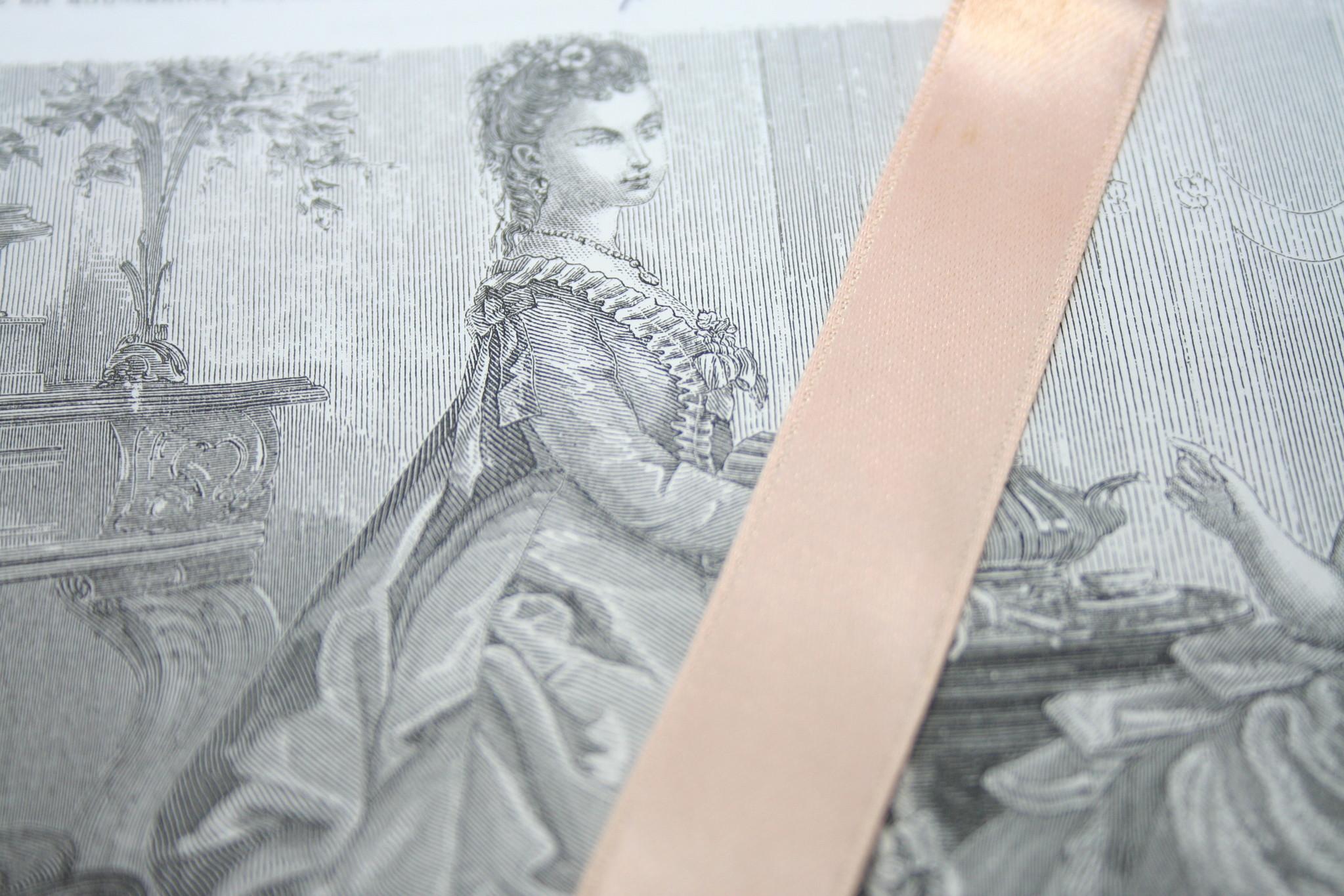 Vintage Corset Satijn Lint Roze.