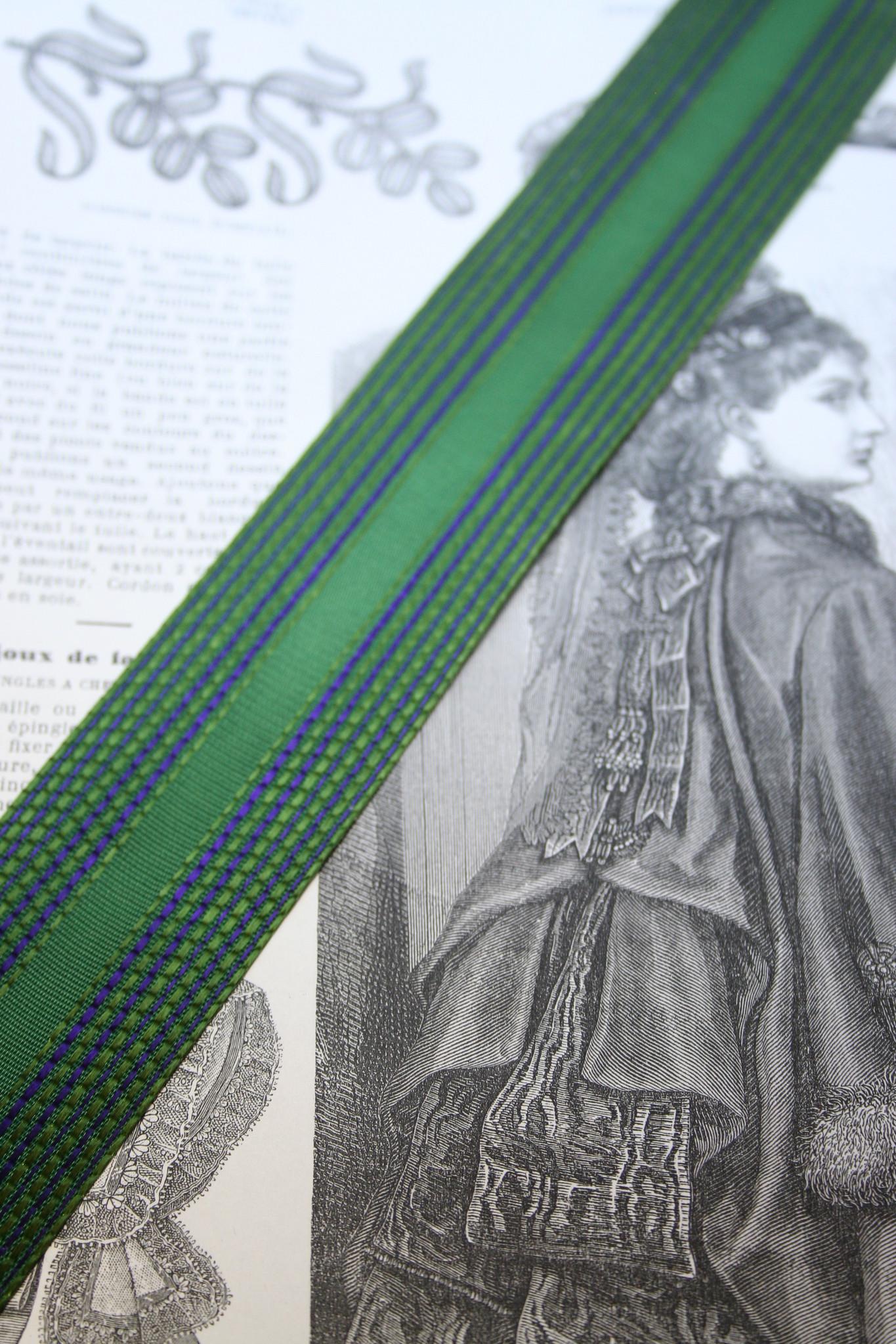 Vintage Groen met paars gestreept lint 40mm Per M.