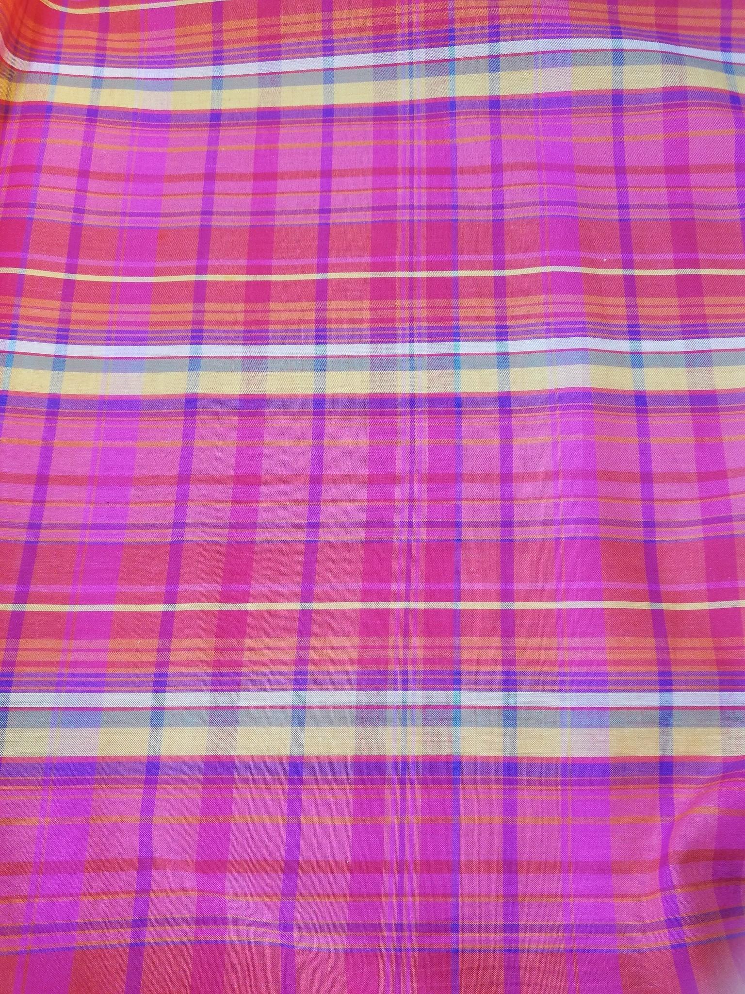 Cotton plaid fabric pink/orange/blue.