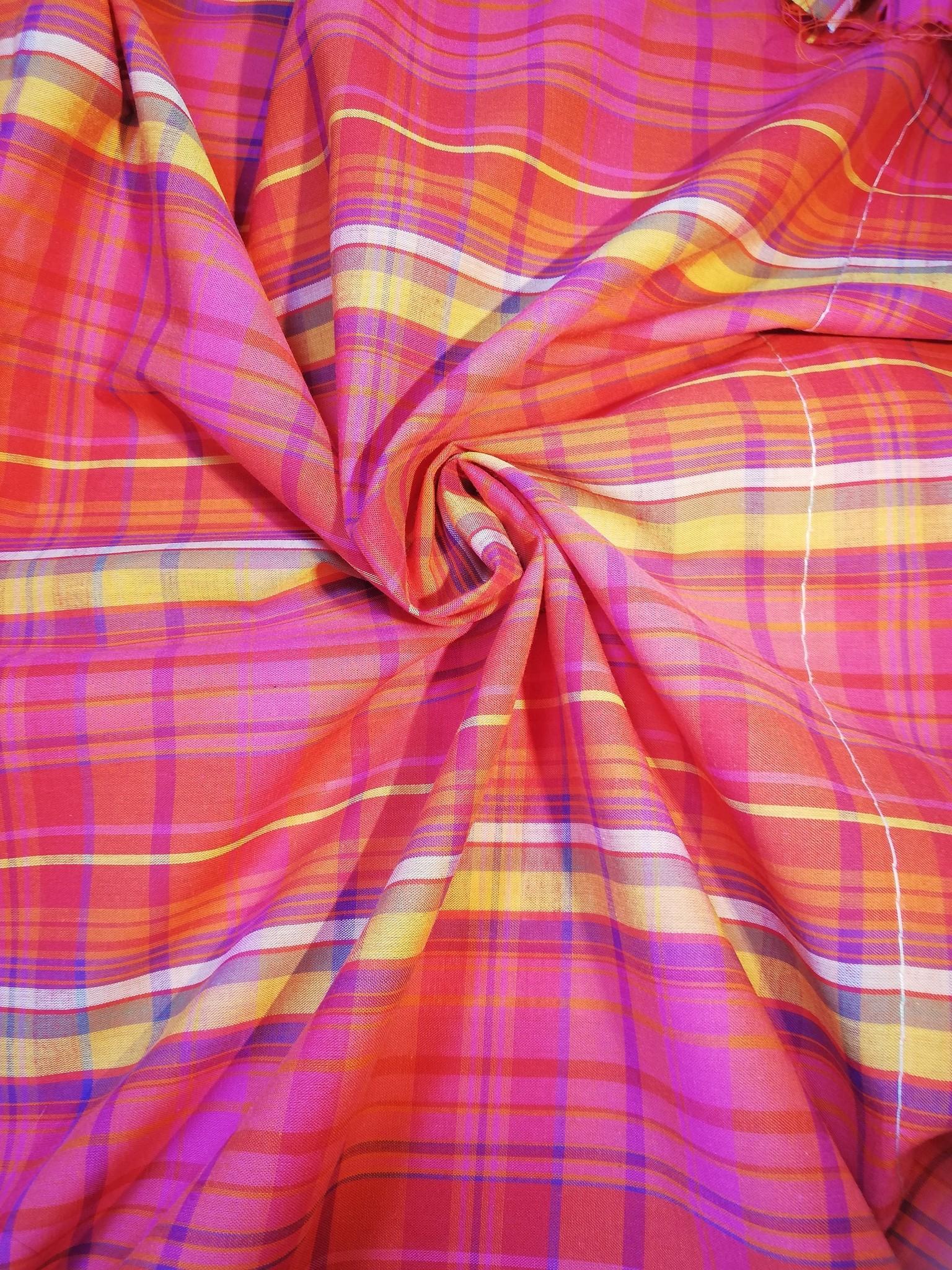 Katoen Geruite Stof Roze./Oranje/Blauw