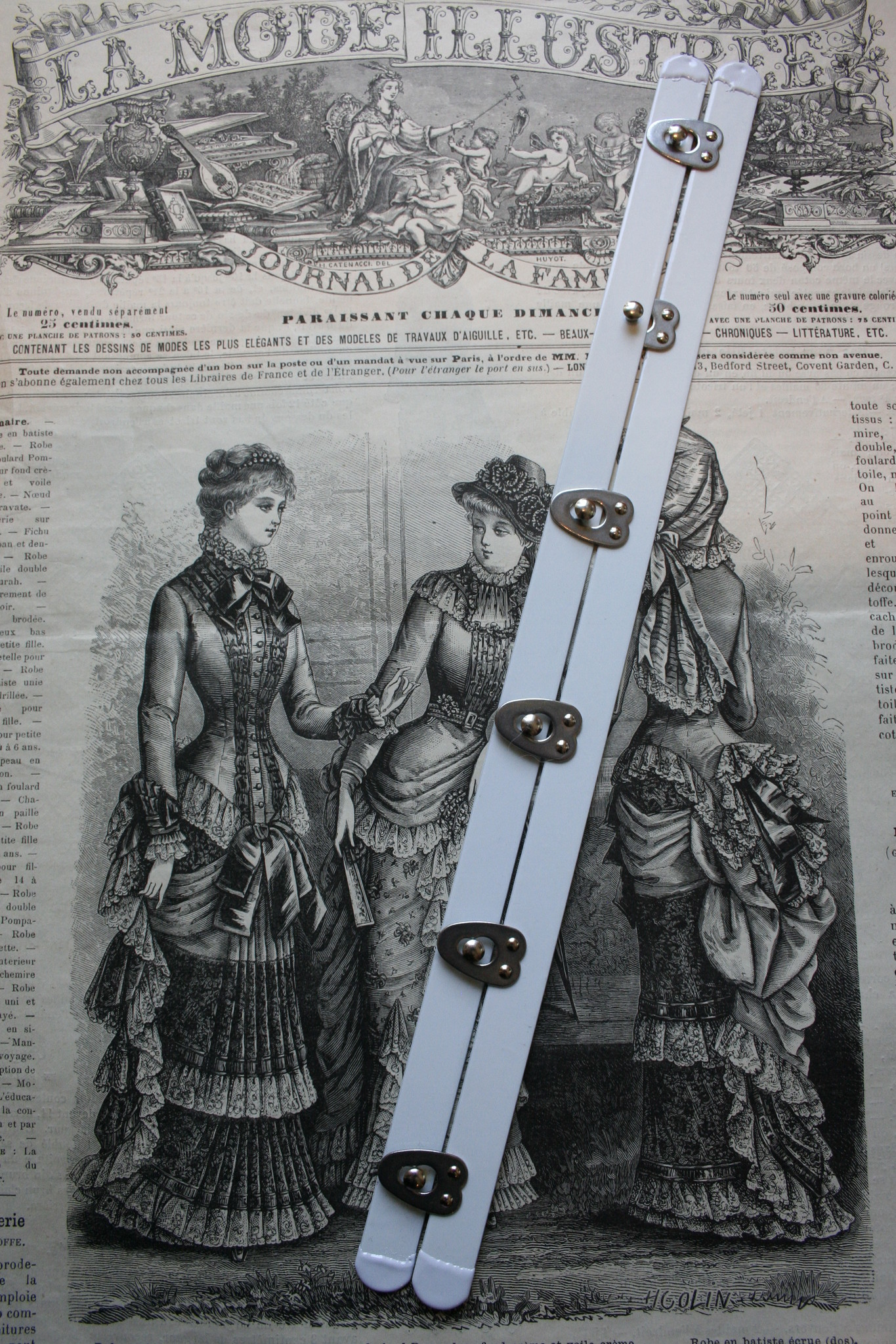 Corset busk met silver closures  diff. lengths