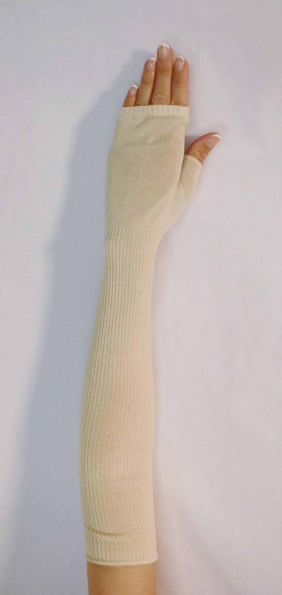 Silk fingerless gloves.
