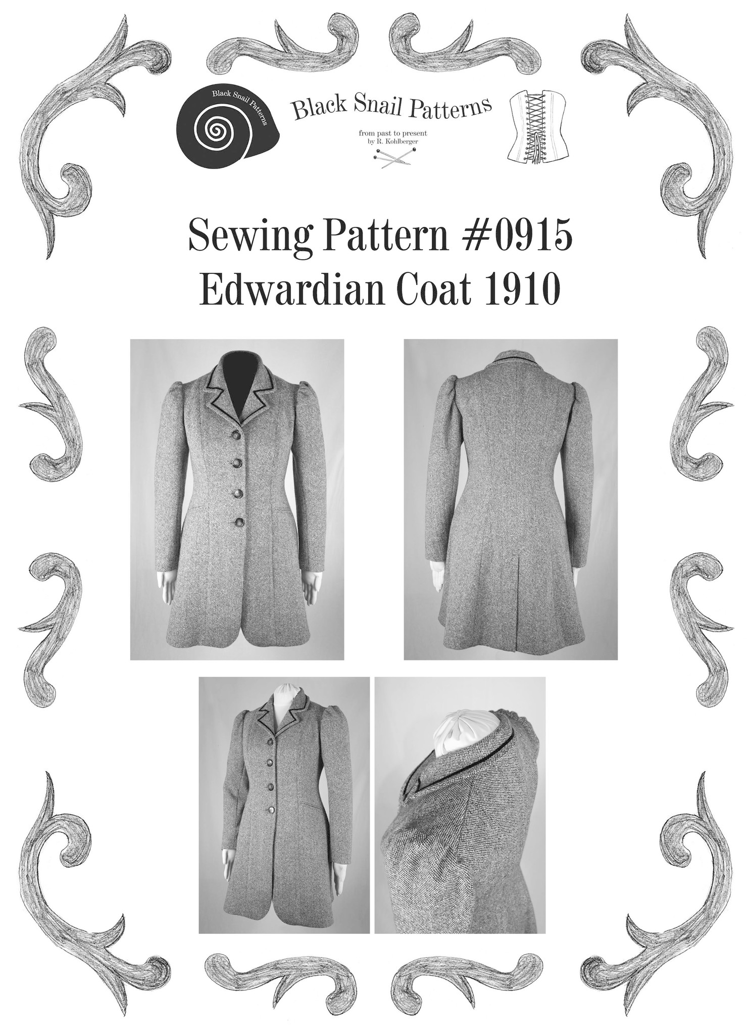 Black Snail Patterns Black Snail Patterns Edwardian Coat 1910