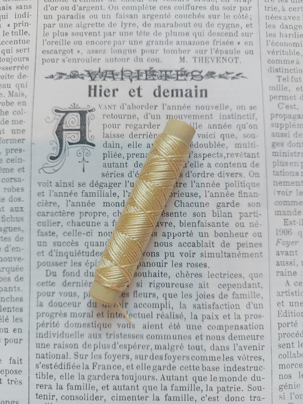 Silk Buttonhole Thread (white, cream, yellow, brown, green, gold)