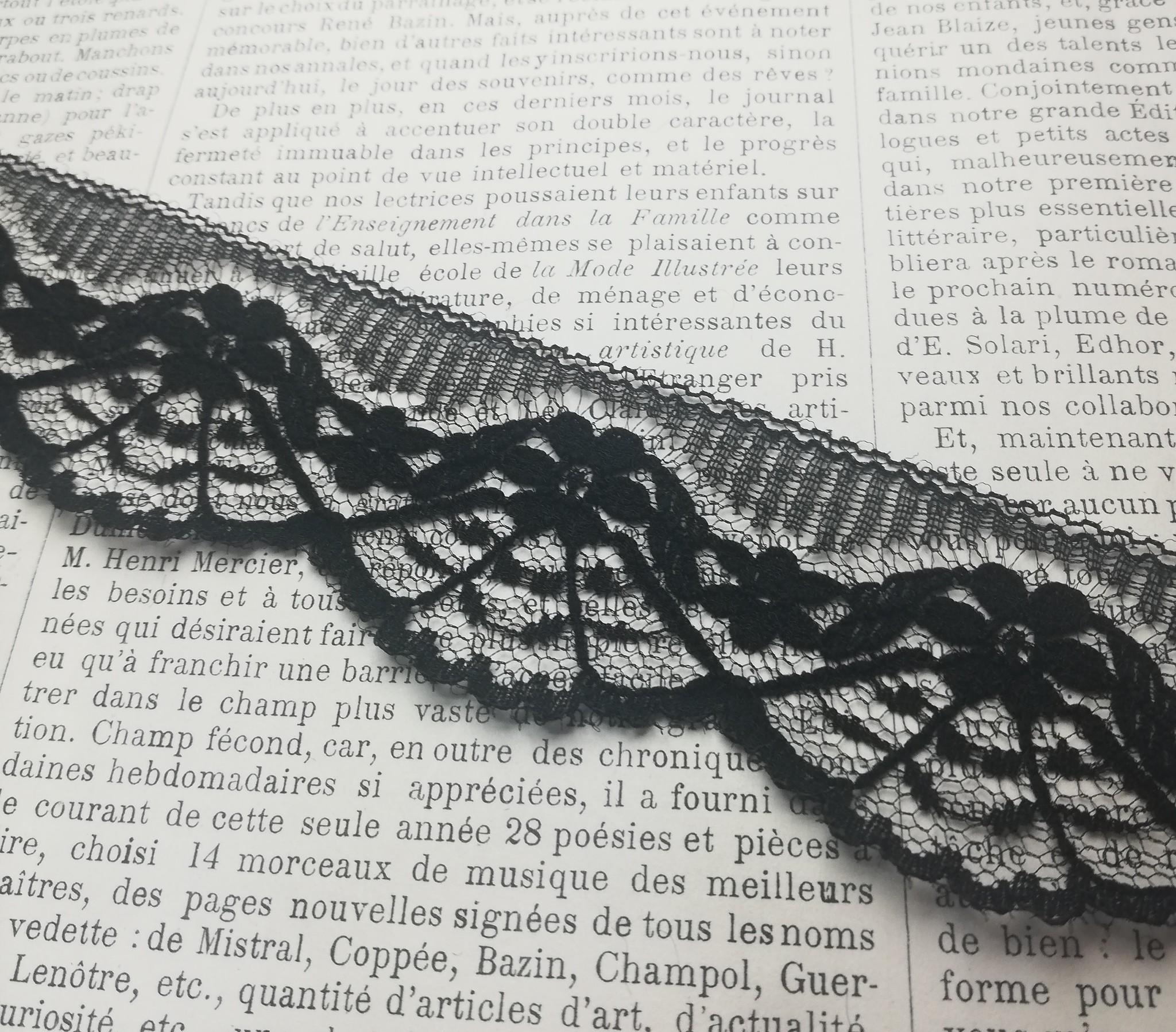 Black Scalloped Lace  with Fan pattern