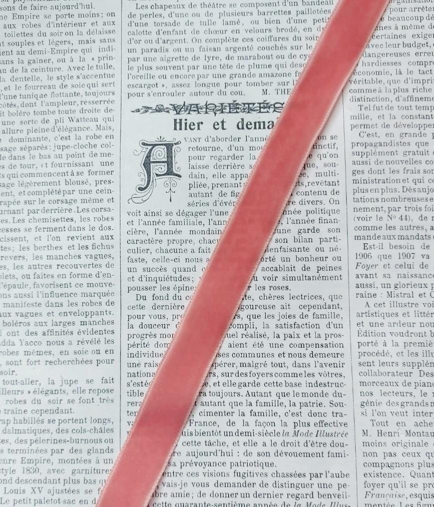 Roze fluweelband 15mm