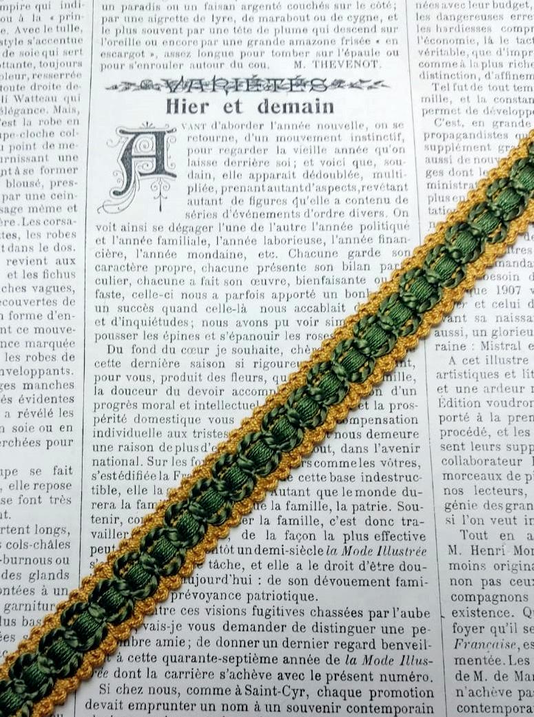 Vintage Green/Yellow Gimp 15mm